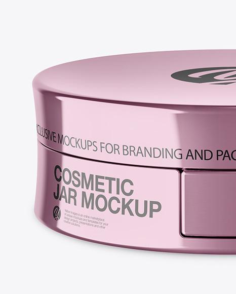 Glossy Metallic Cosmetic Jar Mockup