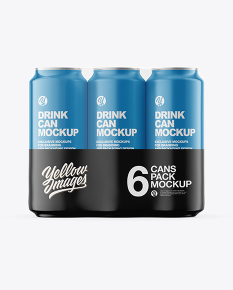 6 Pack Matte Cans Mockup