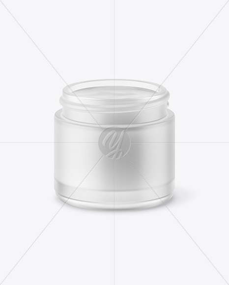 Opened Frosted Glass Jar With White Gel Mockup