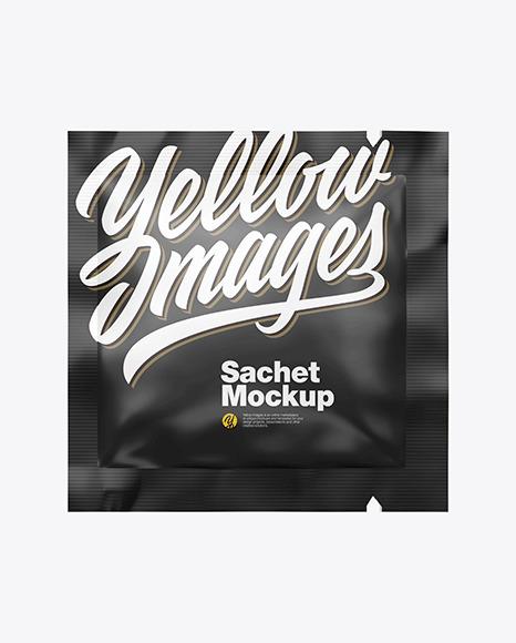 Glossy Square Sachet Mockup