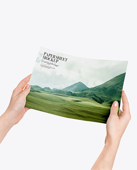Paper Sheet in Hands Mockup
