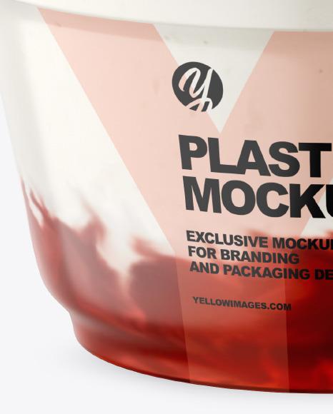 Plastic Cup w/ Yogurt and Strawberry Jam