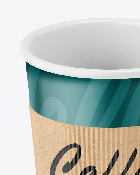 Coffee Cup With Kraft Holder Mockup