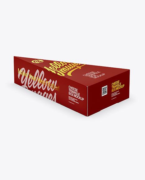 Glossy Plastic Triangle Cheese Box Mockup