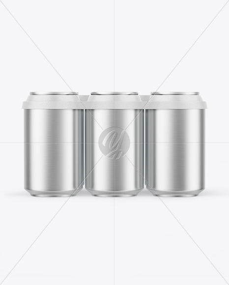 6 Pack Matte Metallic Cans with Holder Mockup
