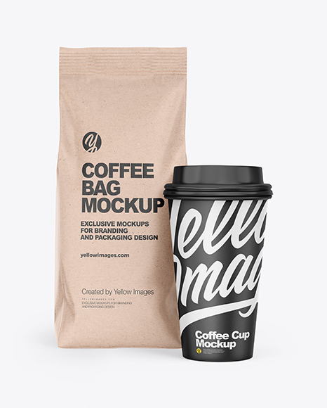 Kraft Coffee Bag with Cup Mockup - Front View