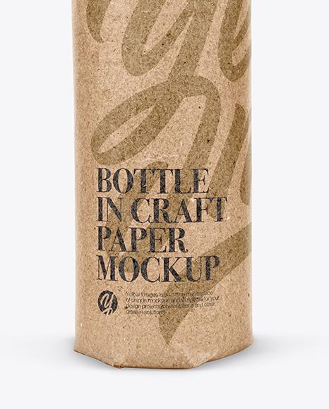 Bottle In Craft Paper Mockup