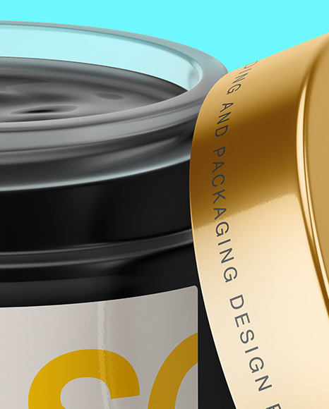 Opened Frosted Glass Jar With Black Gel Mockup