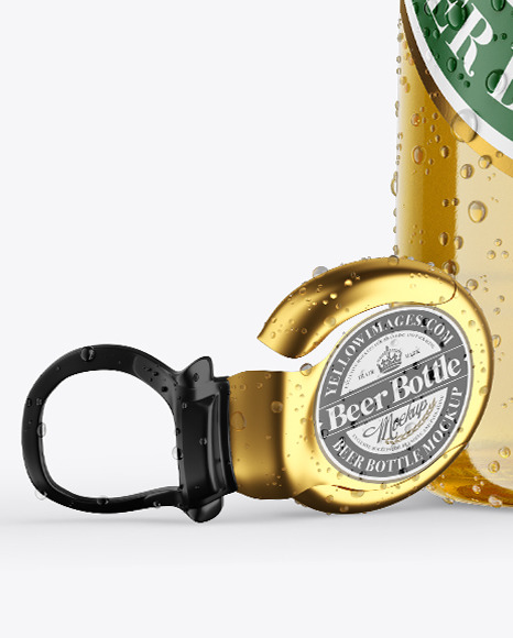 Clear Glass Lager Beer Bottle w/ Condensation Mockup