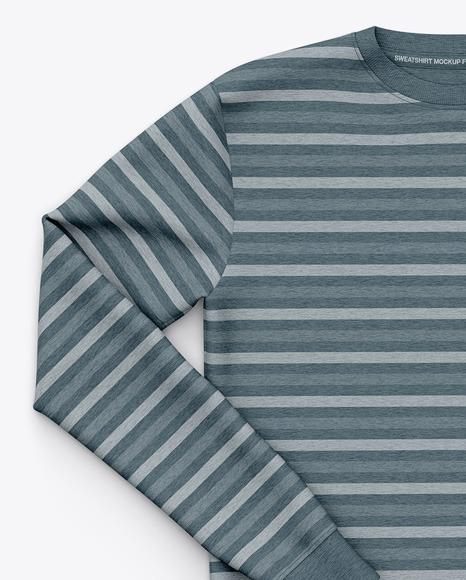 Men's Heather Crew Neck Sweatshirt / Sweater Mockup - Front Top View