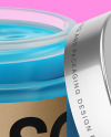 Opened Frosted Glass Jar With Colored Gel Mockup