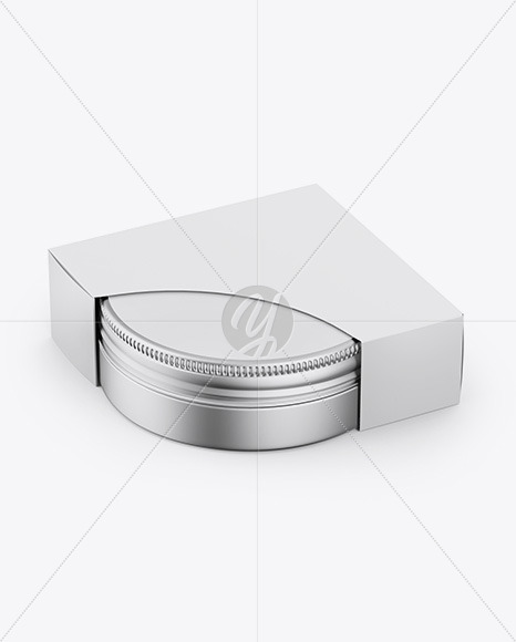 Matte Metallic Jar W/ Paper Box Mockup