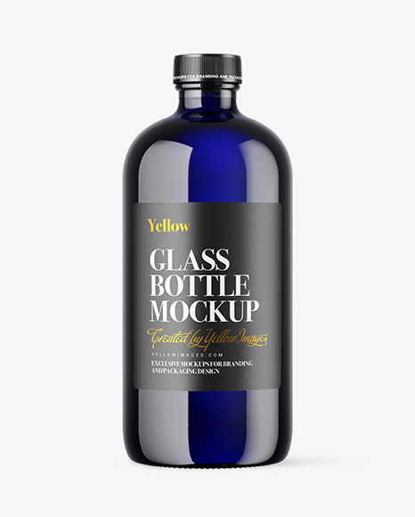 Blue Glass Bottle Mockup