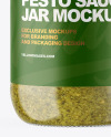 Clear Glass Jar with Pesto Sauce Mockup
