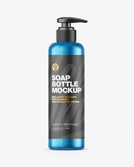 Metallic Soap Bottle w/ Pump Mockup