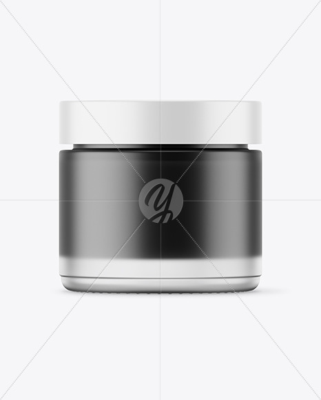 Frosted Glass Jar With Black Gel Mockup