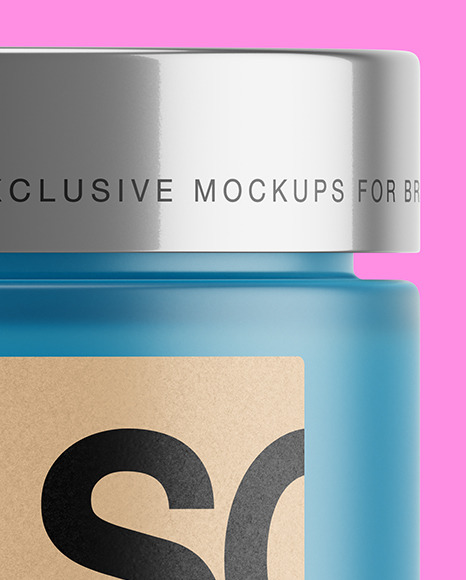 Frosted Glass Jar With Colored Gel Mockup