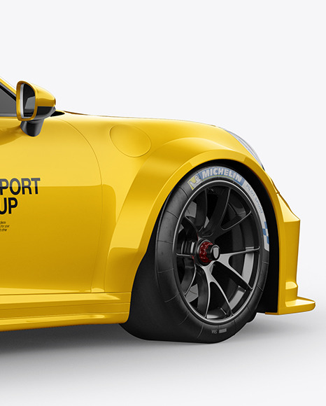 Sport Car Mockup - Back Half Side View
