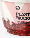 Plastic Cup w/ Yogurt and Raspberry Jam