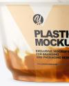 Plastic Cup w/ Yogurt and Apricot Jam