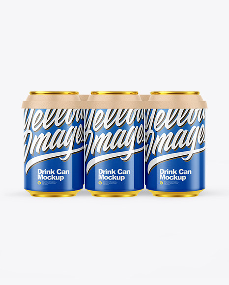6 Pack Glossy Cans with Holder Mockup