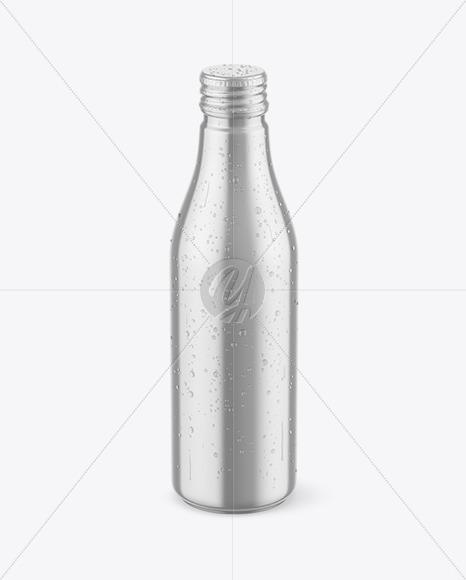 Metallic Drink Bottle w/ Drops Mockup