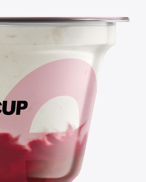 Plastic Cup w/ Yogurt and Cherry Jam