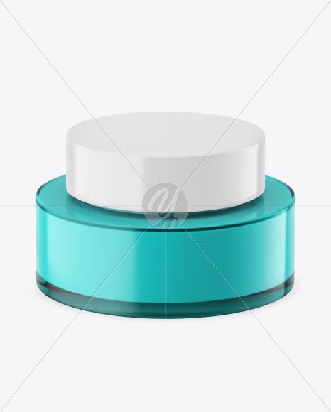 Blue Glass Cosmetic Jar Mockup