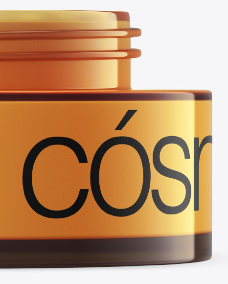 Opened Amber Glass Cosmetic Jar Mockup