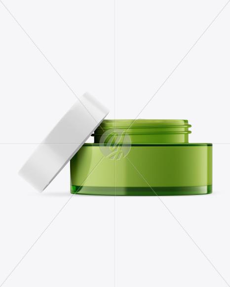 Green Glass Cosmetic Jar Mockup