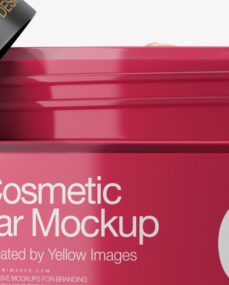 Opened Clear Glass Cosmetic Jar Mockup