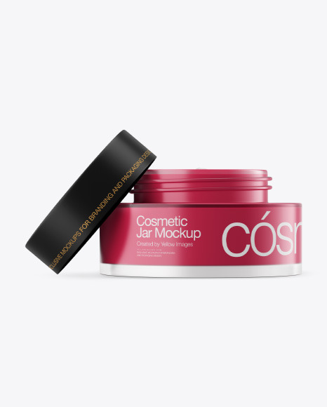 Opened Frosted Glass Cosmetic Jar Mockup