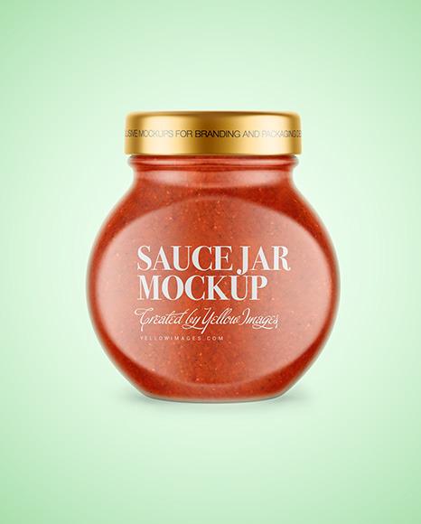 Glass Jar with Tomato Sauce Mockup