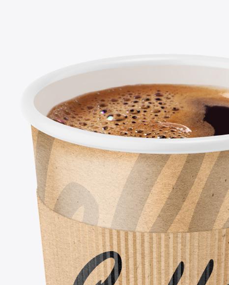 Kraft Paper Coffee Cup With Kraft Holder Mockup