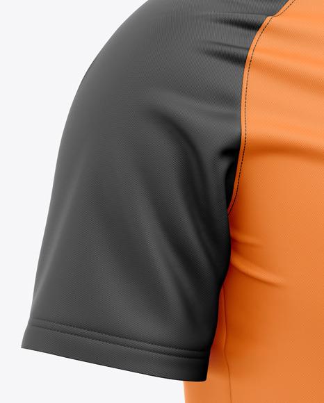 Men's Quarter Zip Sports Jersey Mockup - Front Half-Side View