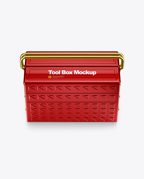 Tool Box Mockup - Front View (High-Angle Shot)
