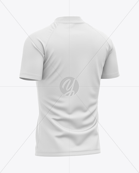 Men's Quarter Zip Sports Jersey Mockup - Back Half-Side View