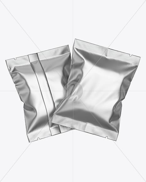 Two Matte Metallic Snack Package Mockup