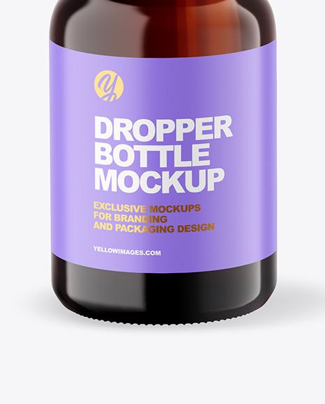 Dark Amber Glass Dropper Bottle Mockup