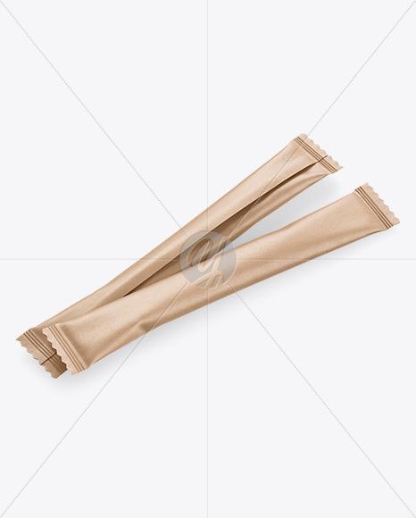 Two Kraft Stick Sachet Mockup