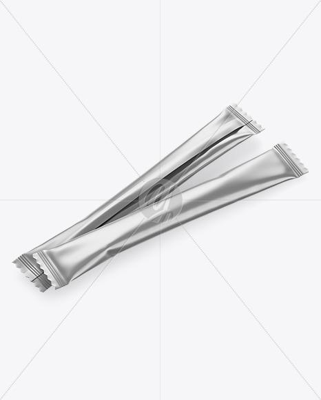 Two Matte Metallic Stick Sachet Mockup