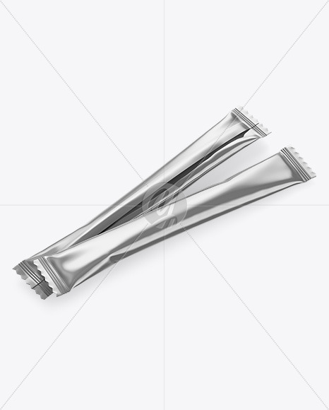 Two Metallic Stick Sachet Mockup