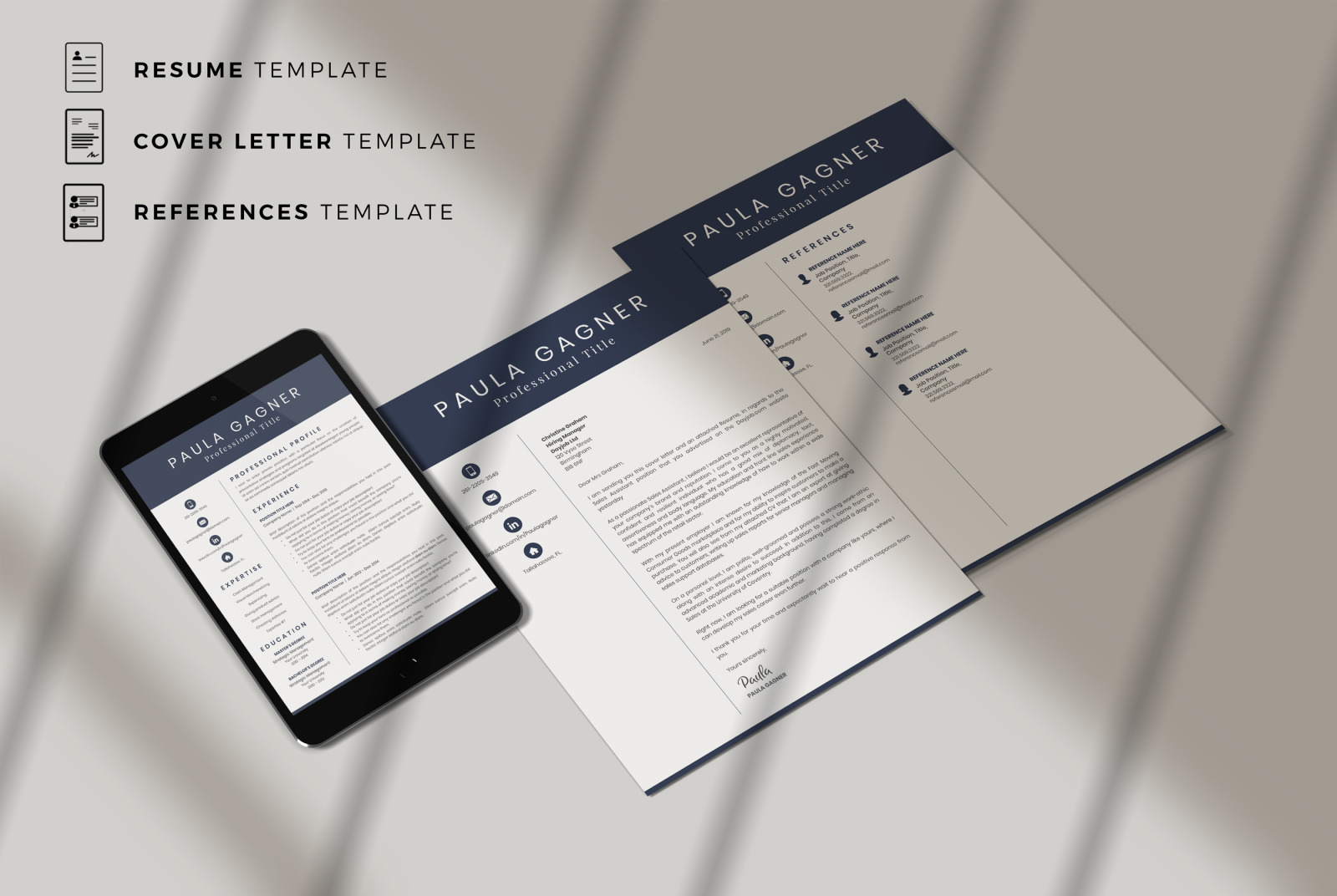 Modern and Professional Resume Layout, Cover Letter and References page