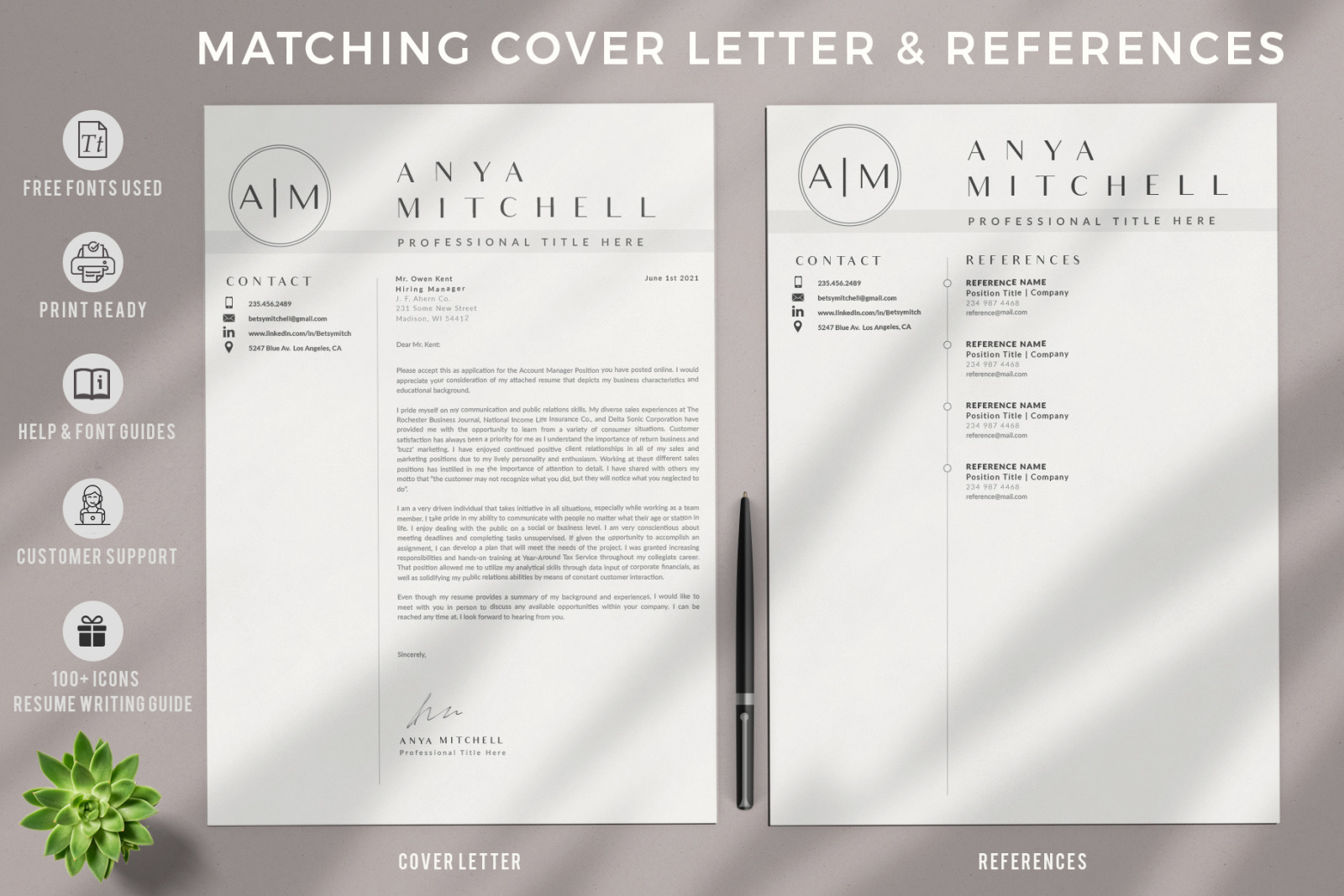 3 Pages of Professional Resume CV Design with Cover Letter format and References page
