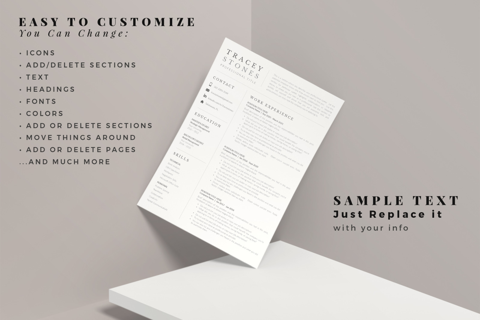 Easy Resume Template and Cover Letter format for Microsoft Word and Apple Pages