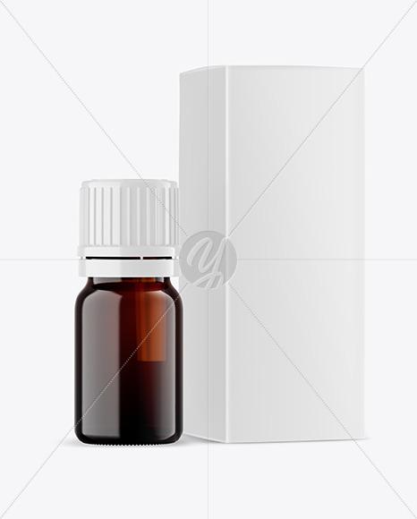 Dark Amber Glass Bottle with Box Mockup