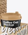 Glossy Coffee Cups in Kraft Paper Holder Mockup