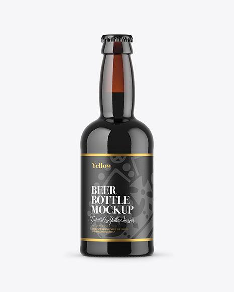 330ml Dark Amber Stout Beer Bottle Mockup