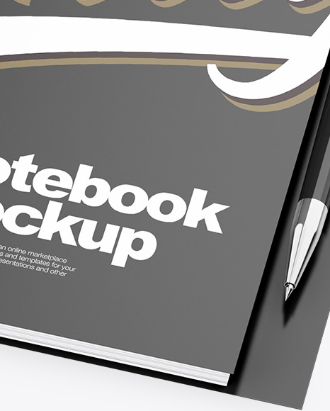 Notebook With Writing Pen Mockup