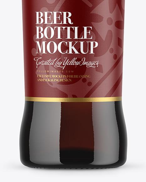 500ml Dark Amber Beer Bottle Mockup